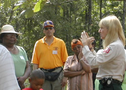 Discussing forest management at a minority landowner workshop