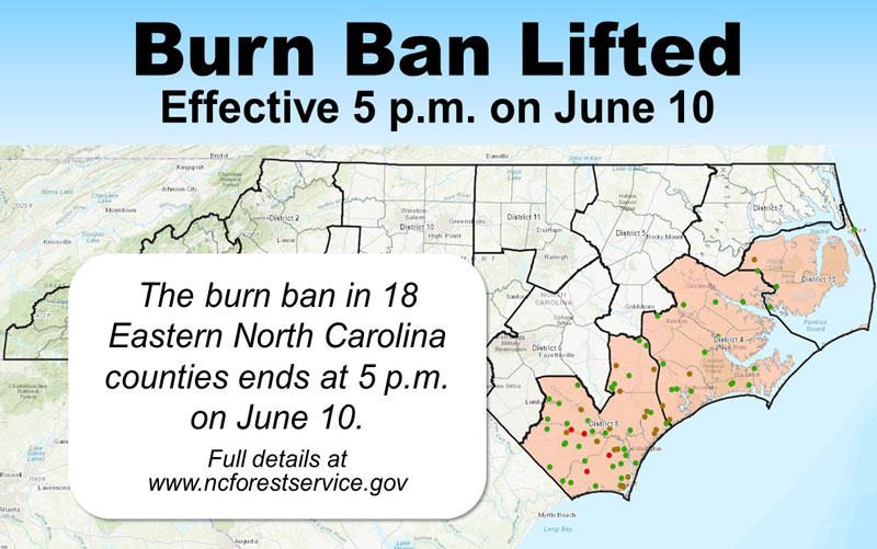 Map of Burn Ban Counties