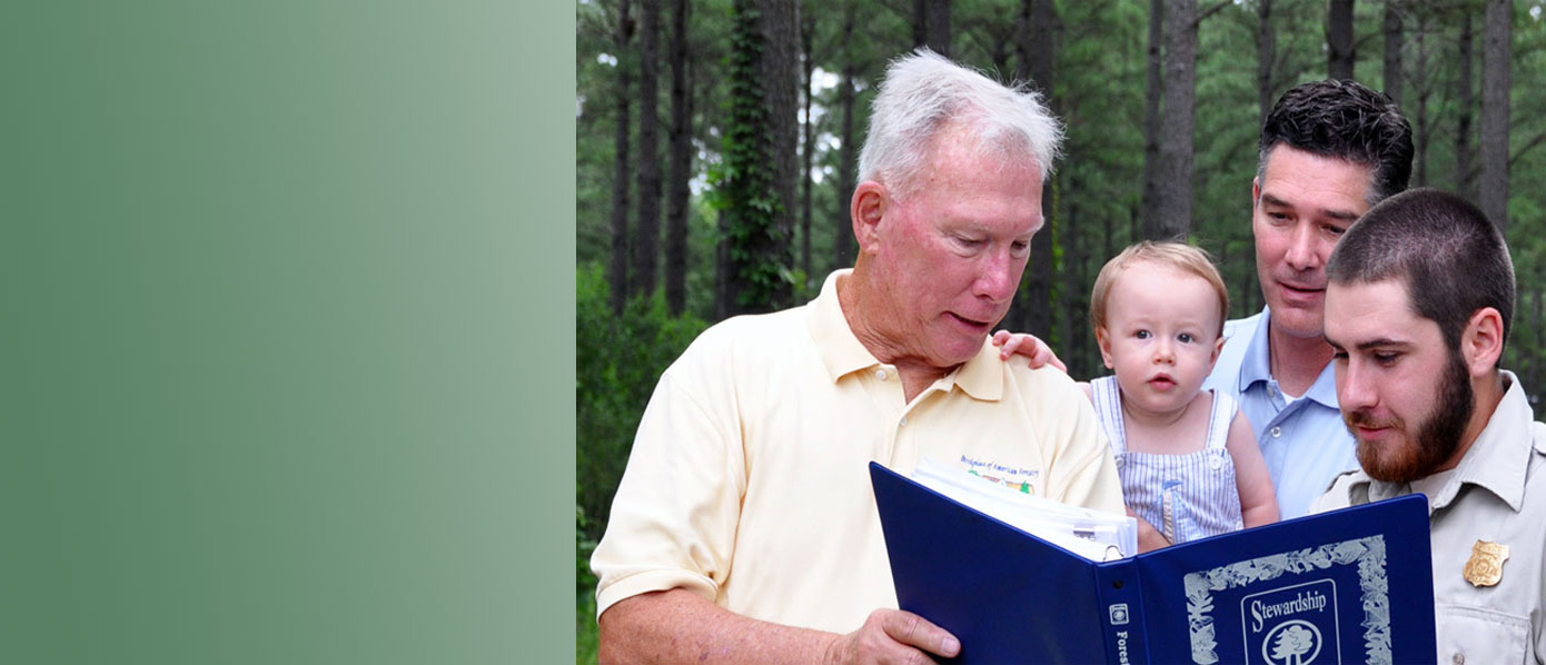 Family reviewing stewardship plan